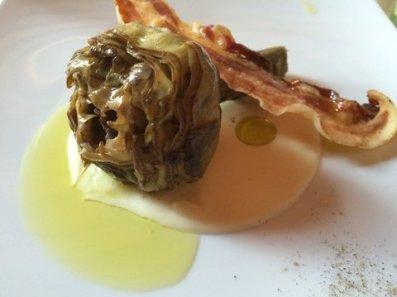 Carciofo con pecorino e pancetta