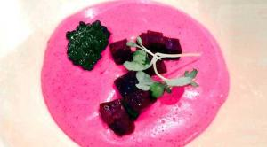 Cracco's cream of rice with beets
