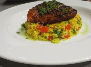 Amberjack over green onion rice.
