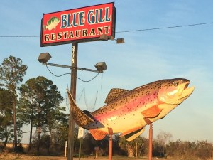 Bluegill Restaurant sign on the Causeway