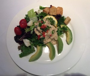Appetizer of crab and avocado remoulade.