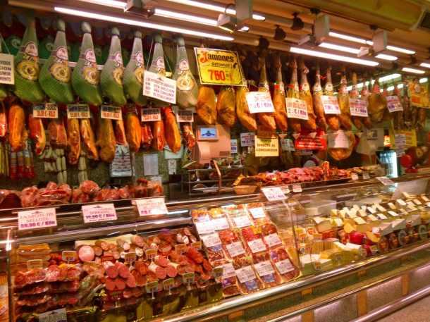 Hanging hams at Museo de Jamon in Madrid, Spain