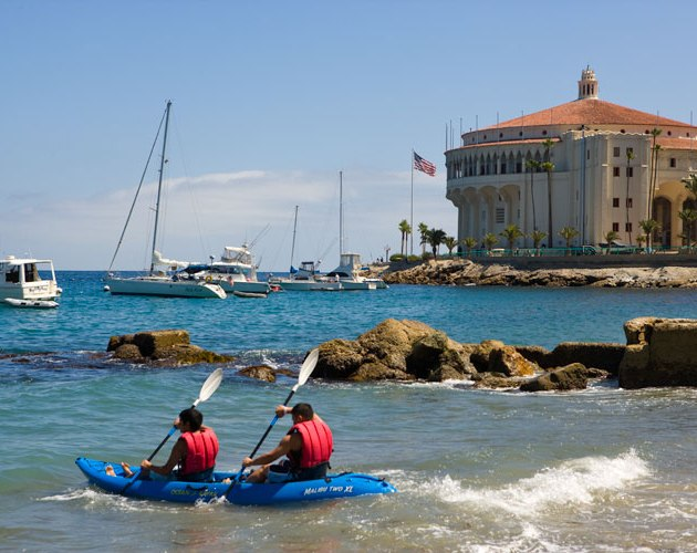 Kayaking along the shore of Catalina Island