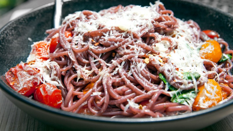 Red wine spaghetti. Photo courtesy of Panna.