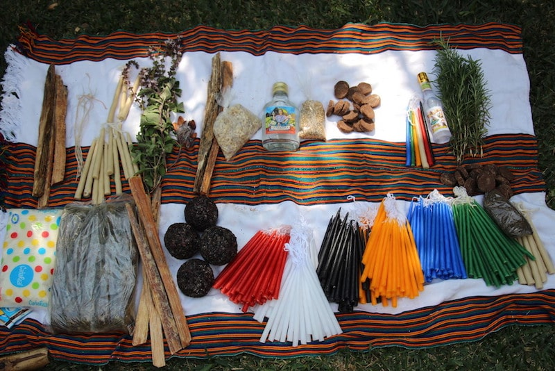 The offerings to begin a Maya ceremony