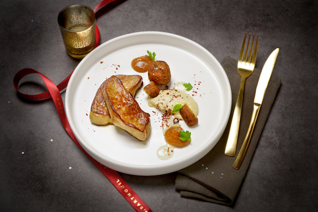 Foie gras poêlé, gel acidulé & garniture orientale - Photo : David Nakache