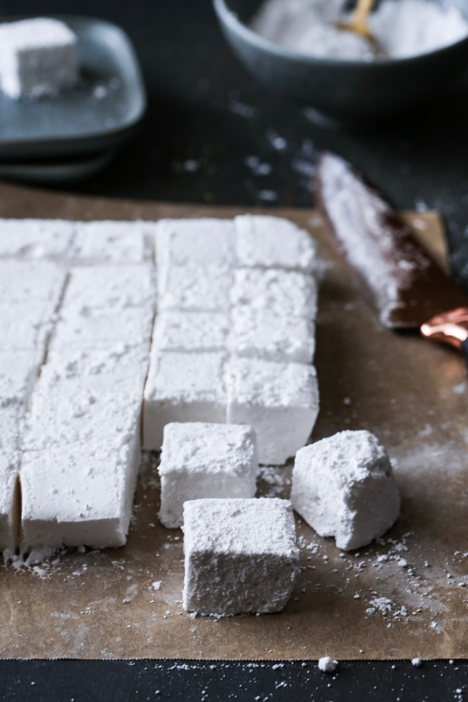 Up close of the marshmallows after being sliced
