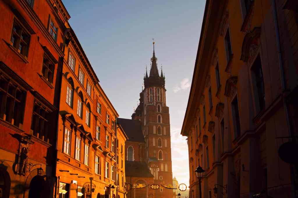 Saint Mary Basilica and Florianska street in Krakow