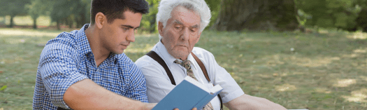 young man and grandfather