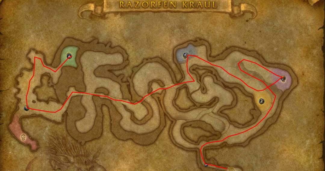Razorfen Kraul  Farming Route