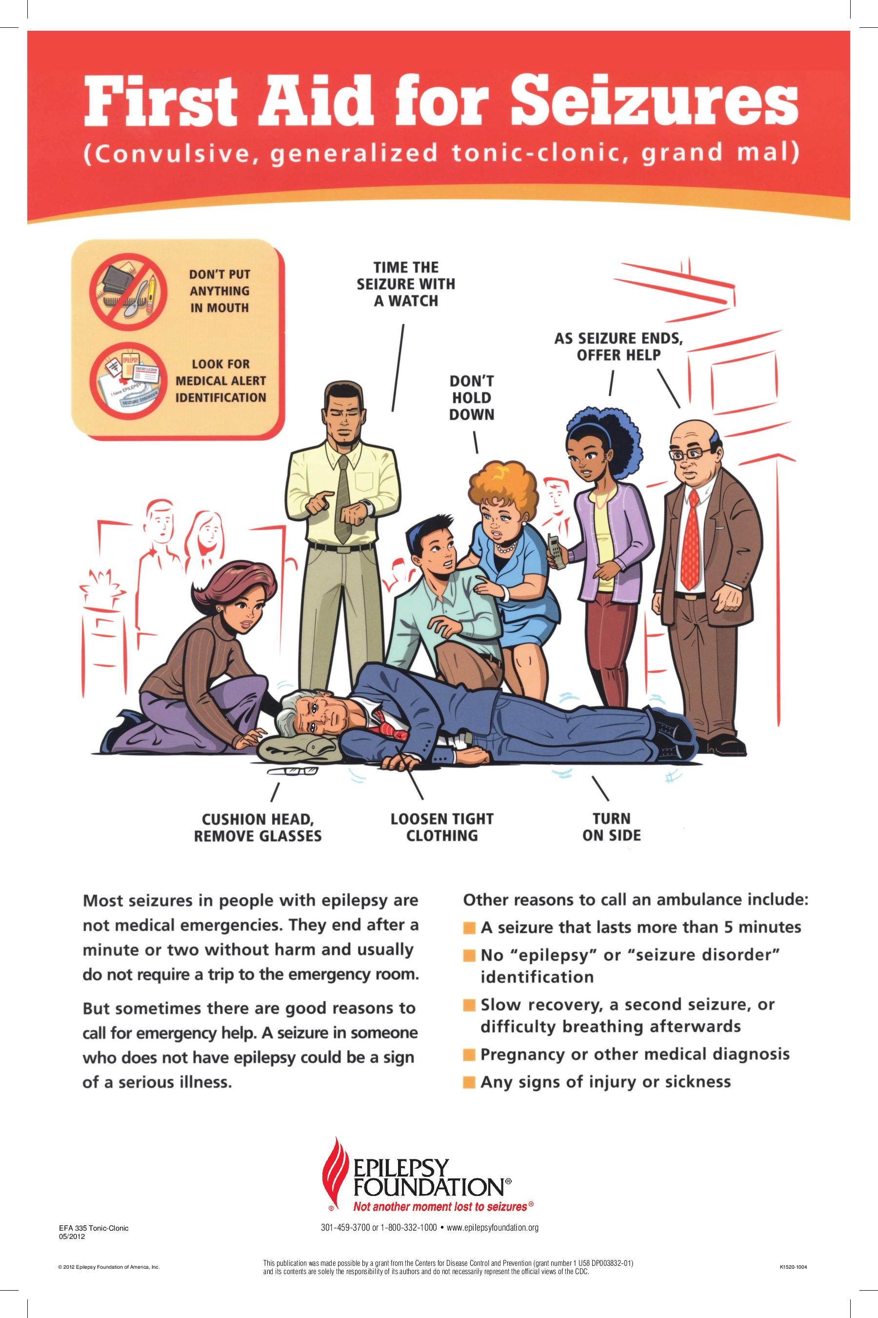 First Aid for Seizures illustrated instructions
