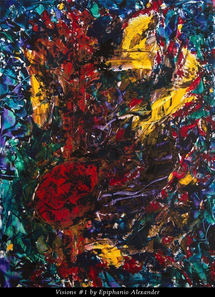 Visions #1 by Epiphanio Alexander. 36″x 48″ Oil impasto on Board with UV Gloss Varnish.