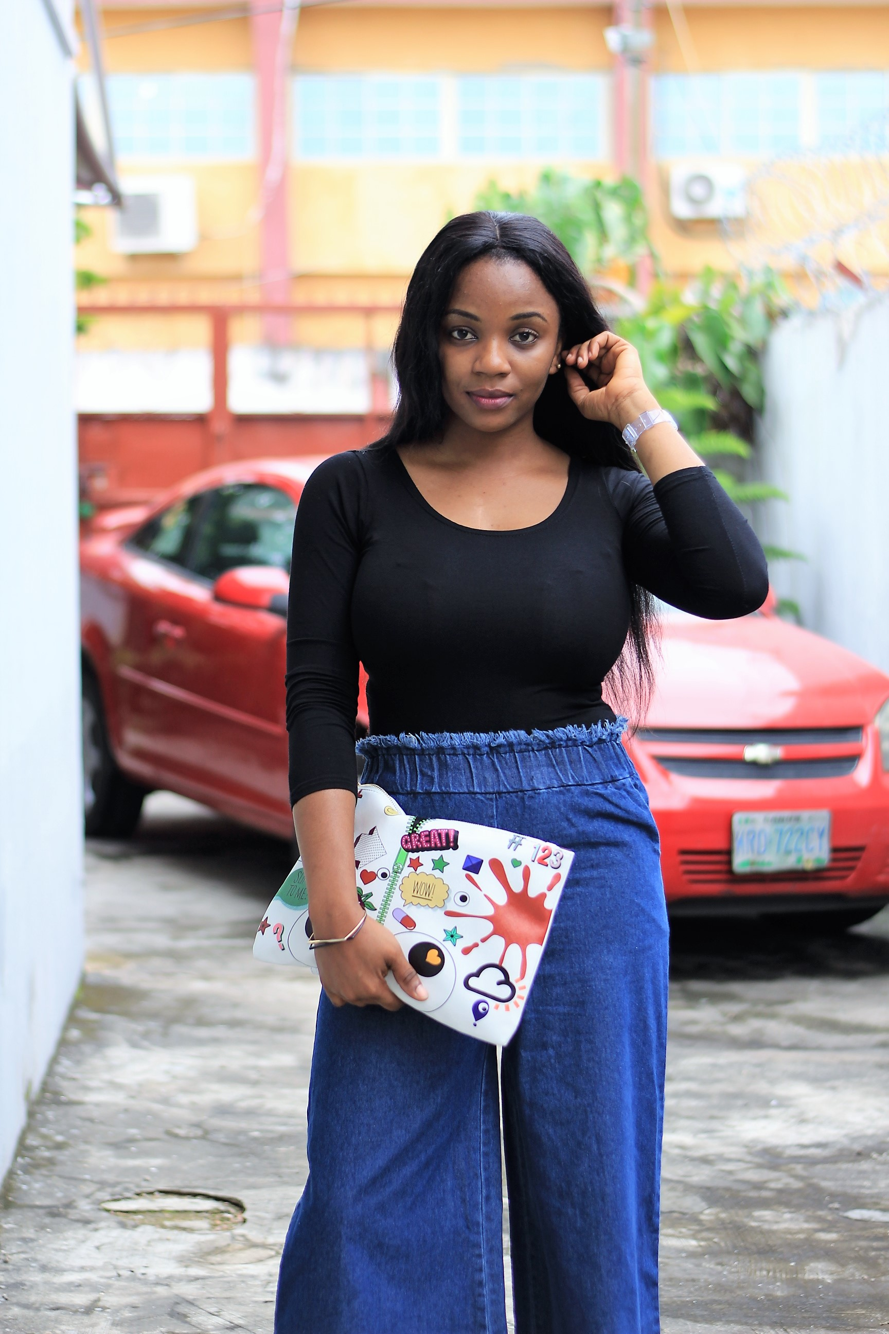 Denim Culottes, Body Suit & Quirky Purses