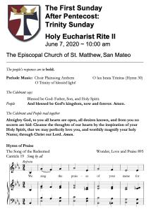 Service Bulletin for Trinity Sunday 2020