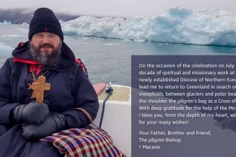"His Grace Macarie in Greenland: ""I am wearing on the shoulder the pilgrim's bag as a Cross of ministry"""
