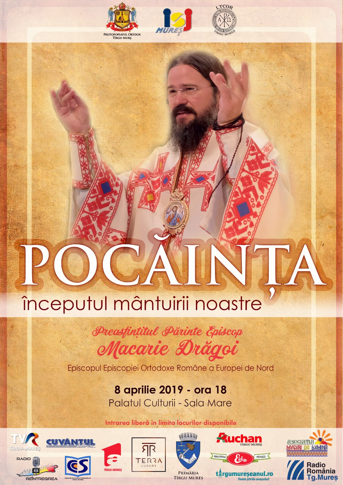 """""""Repentance, the begining of our salvation"""", conference to be held by His Grace Macarie, Bishop of Northern Europe, on April 8, 2019 in Targu-Mures, Romania"""
