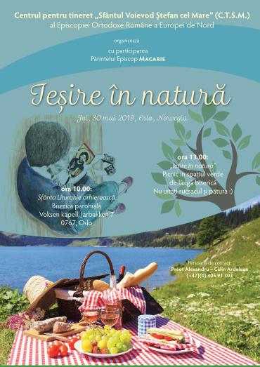 """""""Ieșire în natură"""" – Liturghie arhierească și picnic în aer liber, joi, 30 mai 2019, Oslo, Norvegia"""