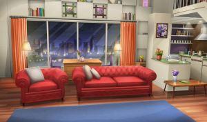INT FANCY APARTMENT LIVING ROOM NIGHT Cenário anime Desenho de quarto Design de quarto