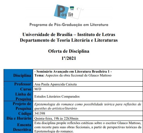 Seminario Literatura Avançada I