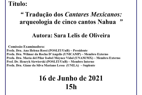 Acesse para saber como assistir à Defesa de Doutorado de Sara Lelis de Oliveira