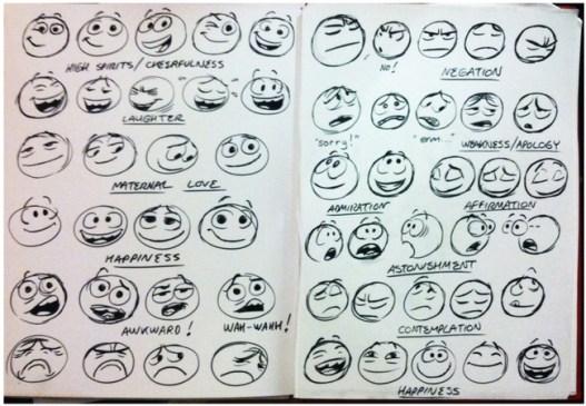 Esquisses des nouveaux emoticones facebook