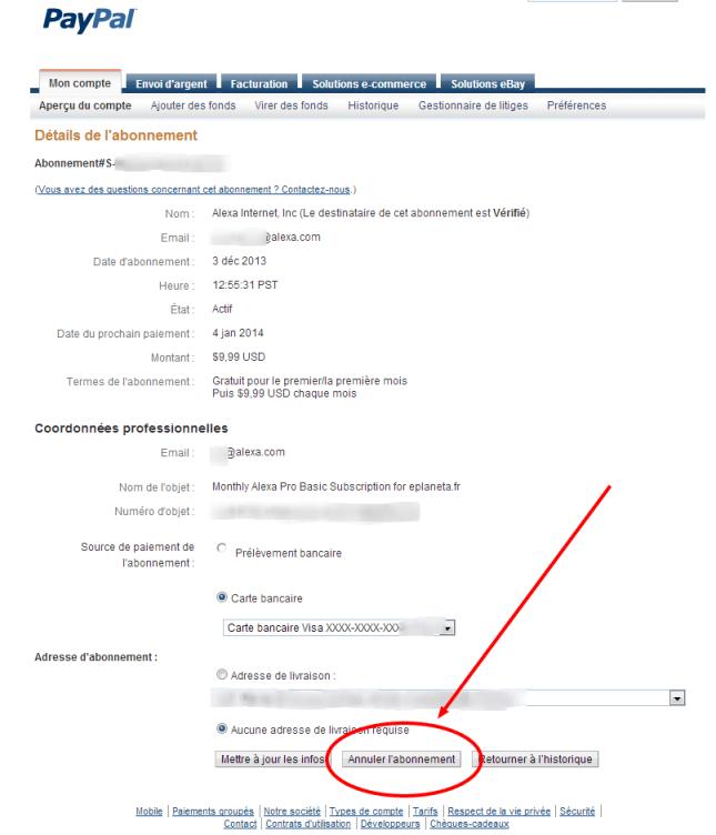 Détails de l abonnement   PayPal 4