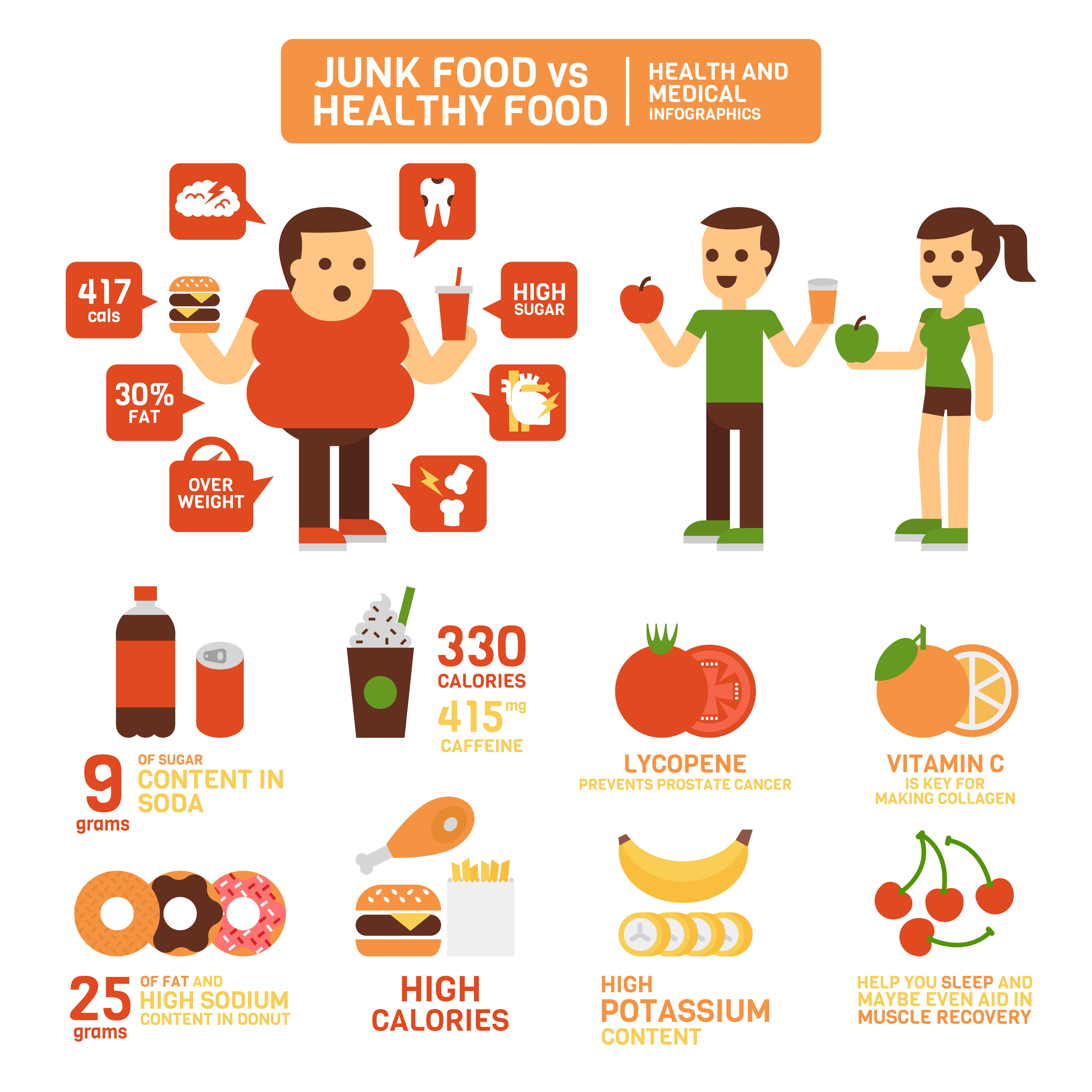 Healthy Food Vs Junk Food Infographics