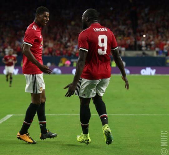 Romelu Lukaku and Marcus Rashford of Manchester United