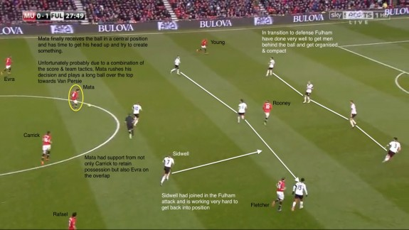 Mata on ball centrally - long pass