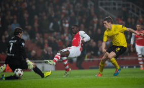 Yaya Sanogo scores his first goal for Arsenal