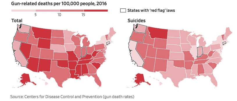Map - Gun related death per capita per state and red flag laws - WSJ 2018-03-03