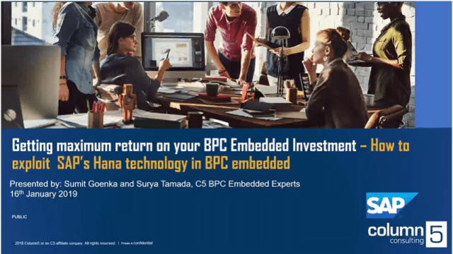 Getting maximum return on your BPC Embedded investment – How to exploit SAP's Hana technology in BPC Embedded