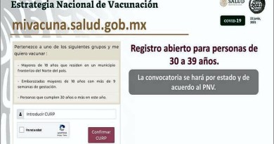 Abre registro la vacunación Covid-19 para 30-39 años.