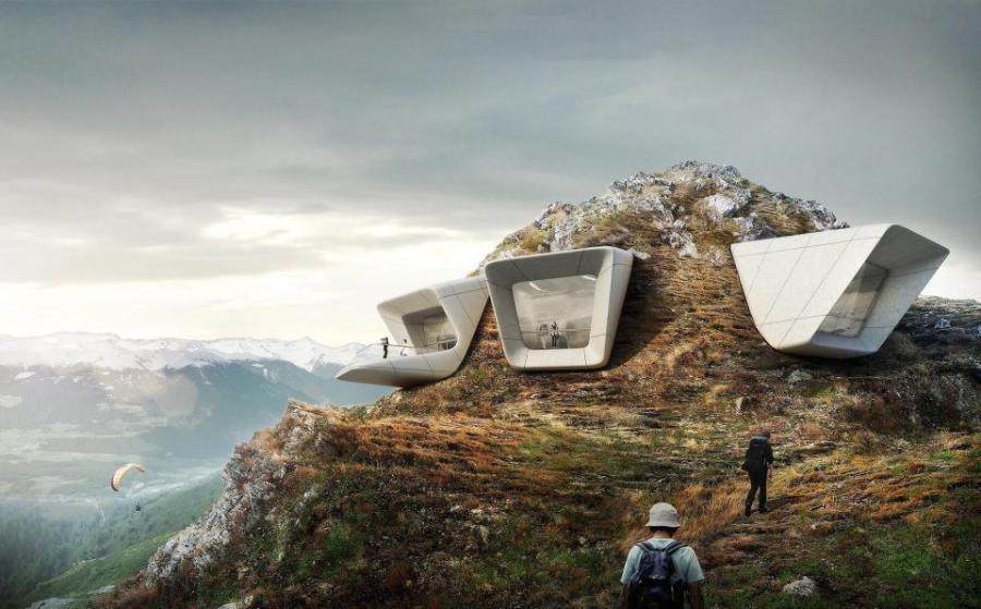 Unikátní futuristické muzeum na špici hory v Dolomitech