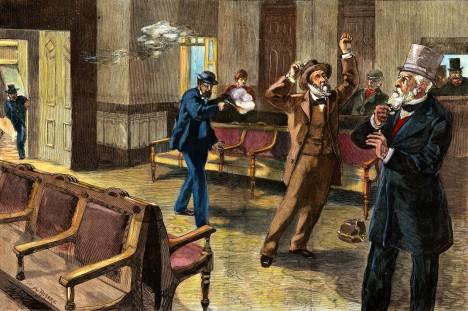 Útok na amerického prezidenta Jamese A. Garfielda přijde nečekaně na nádraží.