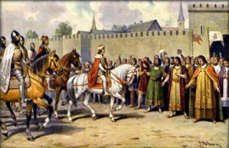 Český král Václav II. přijíždí do Prahy. Brzy se postará o to, aby poddaní řádně platili.