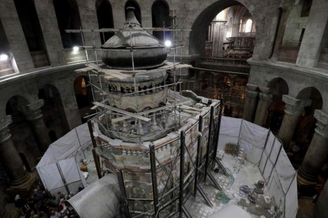 Preservation specialists from the National Technical University of Athens are working to strengthen the shrine surrounding the tomb. Credit Gali Tibbon/Agence France-Presse — Getty Images