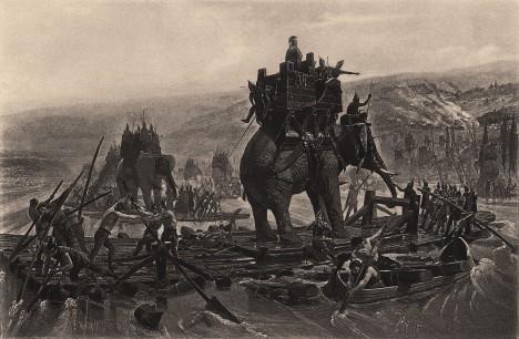 War elephants depicted in Hannibal Barca crossing the Rhône, by Henri Motte, 1878