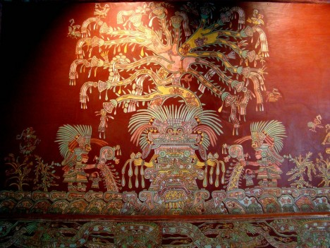 Mural which was believed to represent the Tlalocan, before the Great Goddess hypothesis. Tepantitla palace, Teotihuacan        Mural of Tlalocan, Tepantitla, Teotihuacan culture