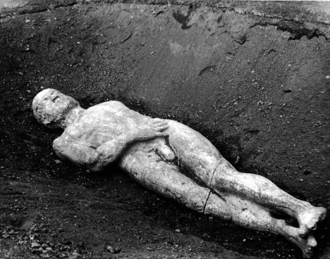 Photo shows the body of the Cardiff Giant on display at the Farmer's Museum, Cooperstown, New York, where it went on display in May of 1948. The giant had been found in the field of farmer William C. Newell, Cardiff, New York, August 16, 1869. It was later revealed to be a hoax conceived by George Hull and had been carved from stone and buried on Newell's land the previous year. (Photo by J L Hamar/Frederic Lewis/Getty Images)