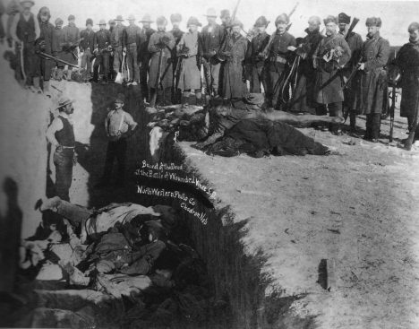 Mass grave for the dead Lakota after the massacre at Wounded Knee Creek