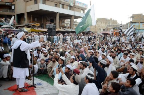 QUETTA, PAKISTAN - SEP 29: JUI-N are protesting against brutality by Indian Army over the Muslims of Kashmir and Indian Government and in favor of Pakistan Army on September 29, 2016 in Quetta.