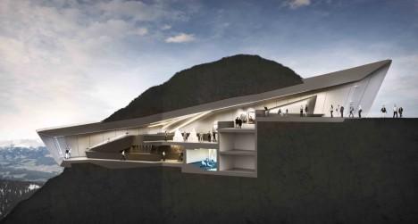 Architektonická vizualizace ukazuje průřez stavbou muzea, které je z větší části ukryto pod zemí.