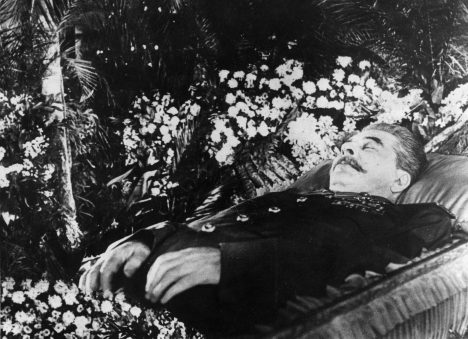 Soviet Communist leader Joseph Stalin (1879 - 1953) lying in state in the hall of Trade Union House, Moscow. (Photo by Keystone/Getty Images)