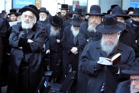 For News: 03/09/14: Israel's Draft: New York - Some of the thousands of Orthodox Jews in a prayerful demonstration on Water St. in the Wall St. area. They are demonstrating against a mandatory draft in Israel. Photo by Helayne Seidman