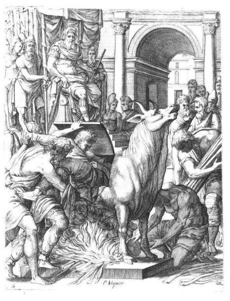 Řemeslník Perillos vytvořil býka na přání tyrana Falarida, který před 2500 lety vládl sicilskému městu Akragas. Šlo o dutou sochu z bronzu s dvířky na boku, kterými byl nebohý odsouzenec natlačen dovnitř. Oheň pod břichem pak kov rozžhavil a odsouzenec se uvnitř smažil ve vlastním tuku. Socha byla opatřena otvory v nozdrách, takže se zvenku zdálo, že býk upouští páru.