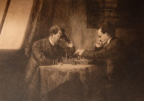 Mandatory Credit: Photo by Bournemouth News / Rex Features ( 999531b ) Hilter and Lenin chess match memorabilia up for auction in Shropshire, Britain - 03 Sep 2009 PICTURE OF HITLER AND LENIN PLAYING CHESS TO BE AUCTIONED An extraordinary etching of a young Adolf Hilter playing chess against Vladimir Lenin 100 years ago has come to light. The art work is by Hitler's Jewish art teacher Emma Lowenstramm, who witnessed the game. It is though that the game took place in Vienna in 1909 when Lenin was in exile and a 20-year-old Hitler was a jobbing artist. The remarkable image was signed by the two dictators and is now for sale at an auction house in Shropshire. Their game allegedly took place in a house that belonged to a prominent Jewish family. When WWII broke out this family fled, giving many of their possessions, including the etching and chess set, to their housekeeper. Now their housekeeper's great-great grandson is selling the sketch and chess board, with each expecting to sell for GBP 40,000. The unnamed vendor's father spent years trying to prove the authenticity of both sketch and board. He compiled a 300-page forensic document that included tests on the paper, the signatures and research on those involved. However, some experts have questioned whether the man identified as Lenin might actually be one of his associates. Richard Westwood-Brookes, who is selling the items, said: This just sounds too good to be true, but the vendor's father spent a lifetime proving it. The signatures in pencil on the reverse are said to have an 80 per cent chance of being genuine, and there is proof that Emma Lowenstramm did exist. The circumstantial evidence is very good on top of the paper having been tested. Hitler was a painter in 1909 and his Jewish teacher Emma Lowenstramm was the person who made the etching. There is some suggestion tha... For more information visit http://ww