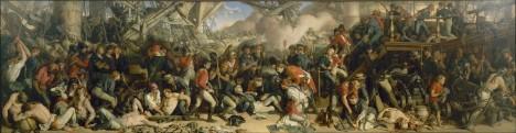 Během osudné bitvy u jihošpanělského mysu umírá námořní velitel Nelson.