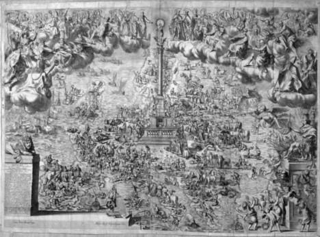 Vyobrazení sloupu, který má uctít záchranu pražského Starého Města před obléháním Švédů v roce 1648.