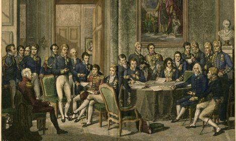 Download von www.picturedesk.com am 29.05.2015 (11:58). 9OE-1815-0-0-A1-1-B (87737) 'Sitzung der Bevollmächtigten der acht an dem Pariser Friede Wiener Kongreß,.Herbst 1814 bis 9.6.1815 - 'Sitzung der Bevollmächtigten der acht.an dem Pariser Frieden beteiligten.Mächte'. -.Holzstich, um 1880, nach der Kreide-.Kreidezeichnung, 1814/15, von Jean-Bap-.tiste Isabey (1767-1855), neukoloriert .E:.'Meetings of the representaties of the eight powers present Vienna Congress.Autumn 1814 bis 9.6.1815 - 'Meetings of the representaties of the.eight powers present at the Peace of.Paris'. -.Woodcut, c.1880, after the chalk.drawing, 1814/15, by Jean-Baptiste.Isabey (1767-1855), coloured - 20120605_PD3914